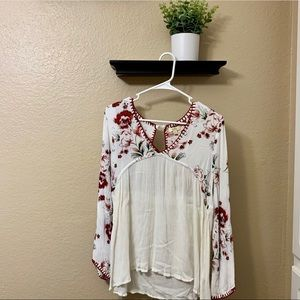 Flowy Red and White Blouse